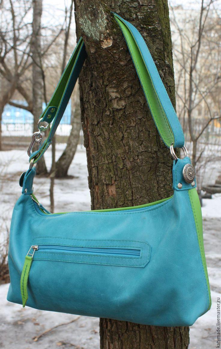 """Купить Сумка """"Яркая весенняя"""" натуральная кожа - ярко-зелёный, летняя сумка"""