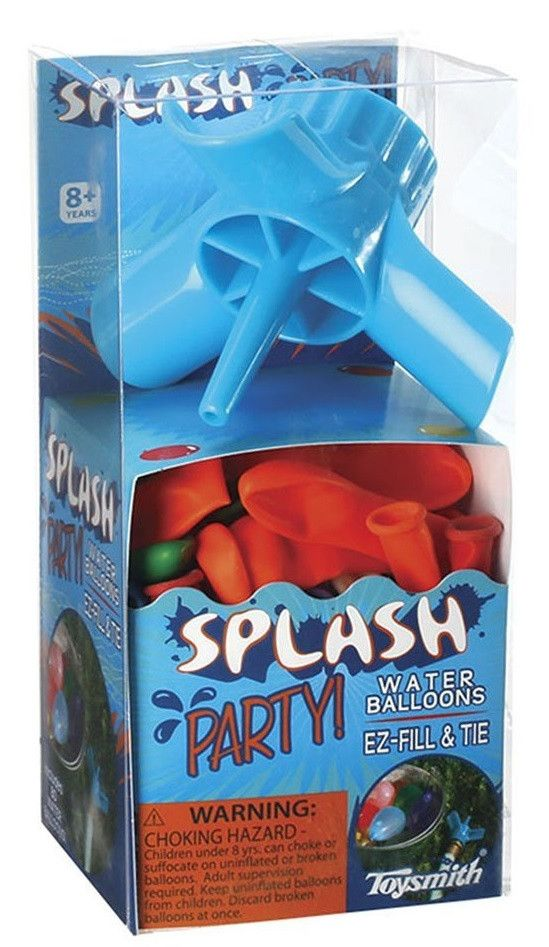 """Water Balloon Filler & 80 Water Balloons by Toysmith Make a splash at your next gathering with friends. The filler fits on almost any standard outdoor faucet or garden hose, and it's three """"wings"""" mak"""