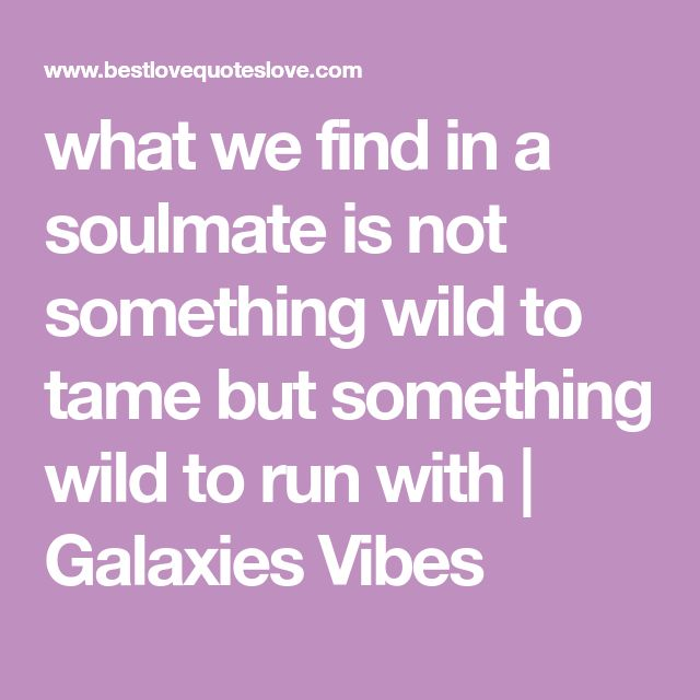 what we find in a soulmate is not something wild to tame but something wild to run with | Galaxies Vibes