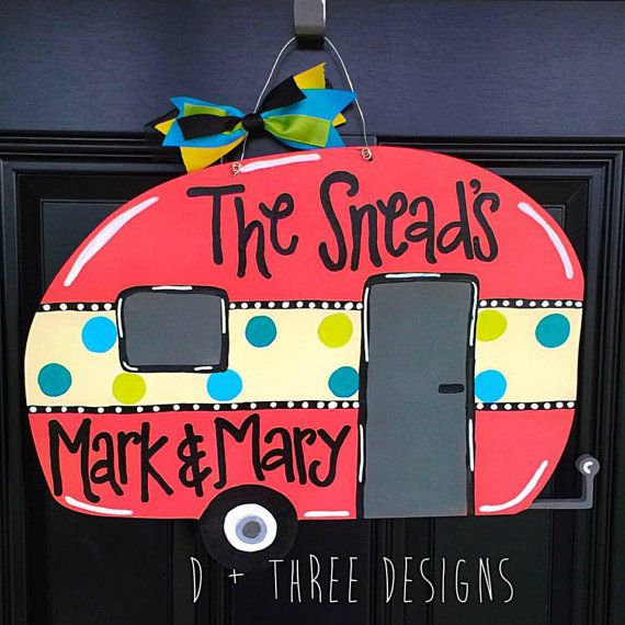 Camping Door Hanger Camper Decor RV Decor by DPlusThreeDesigns