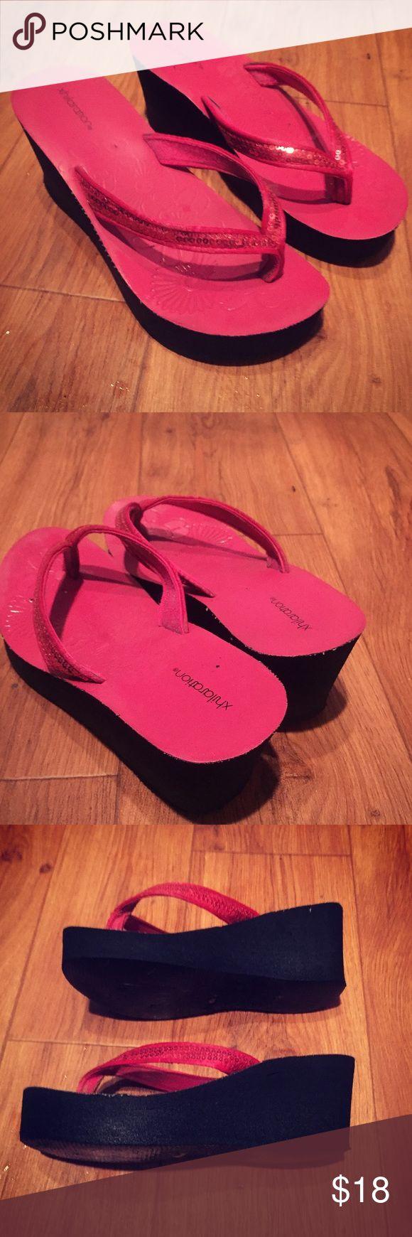 ☀️ Pink Wedge Sandals Flip Flops Xhileration by Target. Pink wedge sandal thong flip flops. Pink sequin design around front toe. Size 6. Good condition. Xhilaration Shoes Sandals