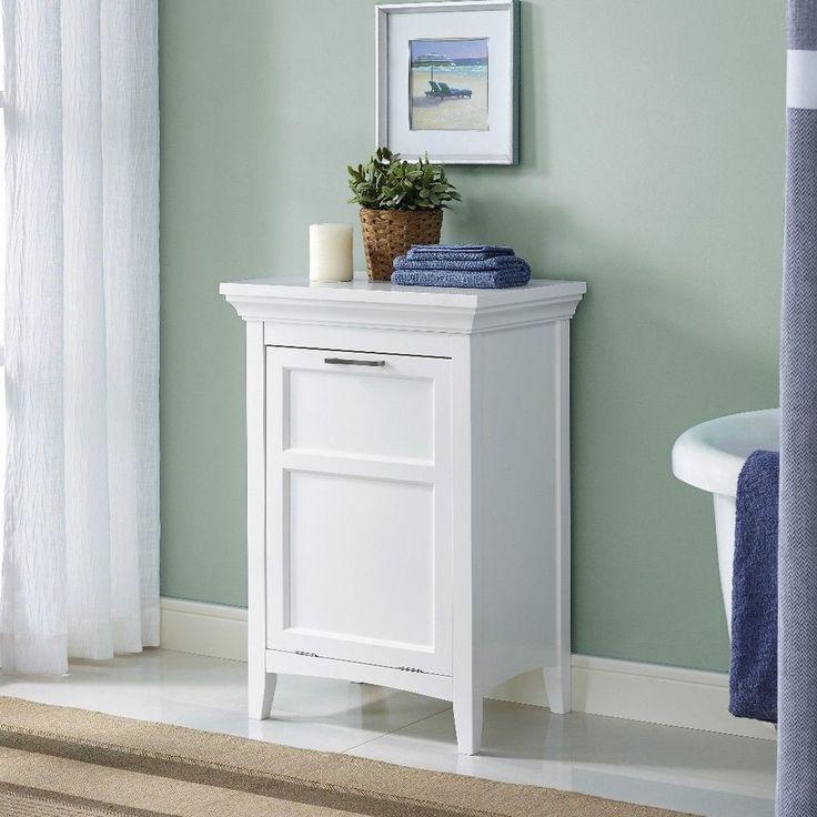 Laundry Hamper In White Contemporary Storage Cabinet Bathroom Decor #cabinet