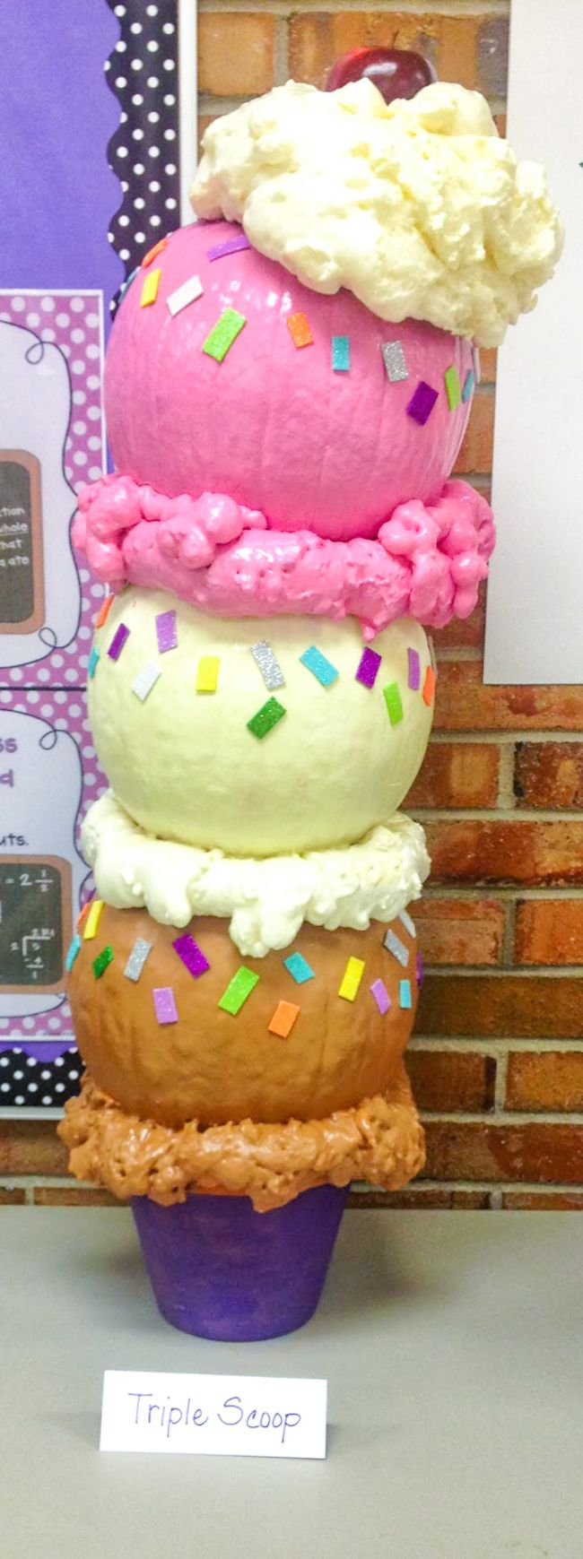 Tripe Scoop Ice Cream Cone Pumpkins