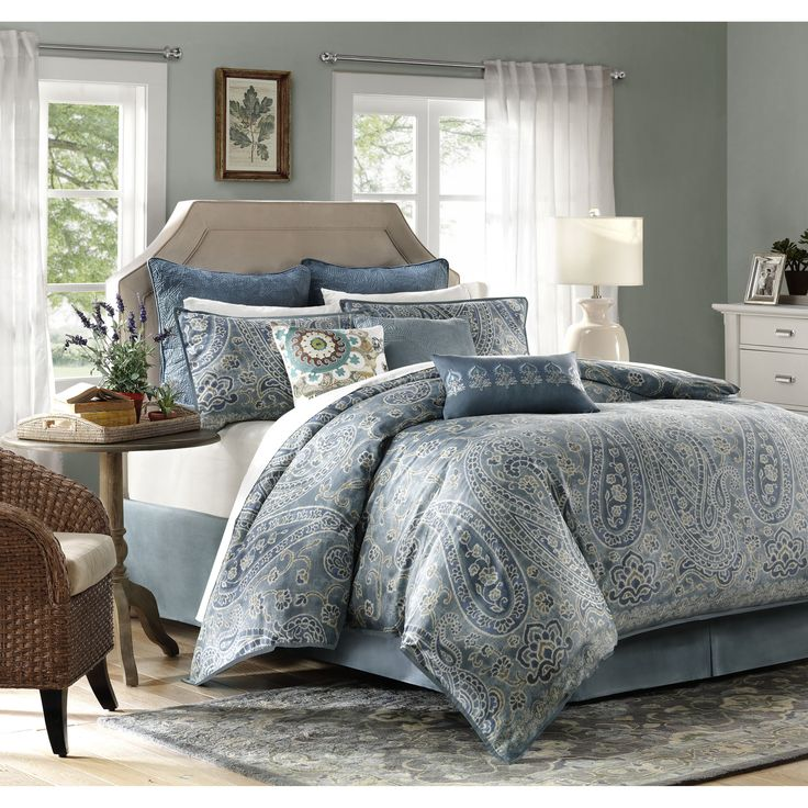 The Harbor House Belcourt Collection gives a worldly look to your bedroom with its oversized paisley design. This colorful set is made from 300 thread count cotton sateen for a super soft comforter to climb into at night.