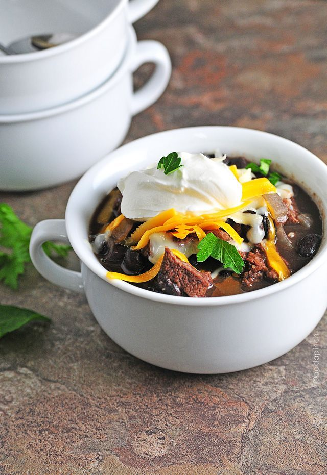 Black Bean and Steak Soup - So delicious anytime and so great for those busy nights! It is one of my favorites!  from addapinch.com