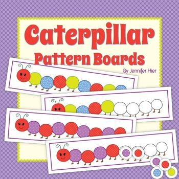 Caterpillar Pattern Boards:  Preschool, kindergarten, or busy bag math activity. Kids can continue the patterns.  I will use them with pom-poms.