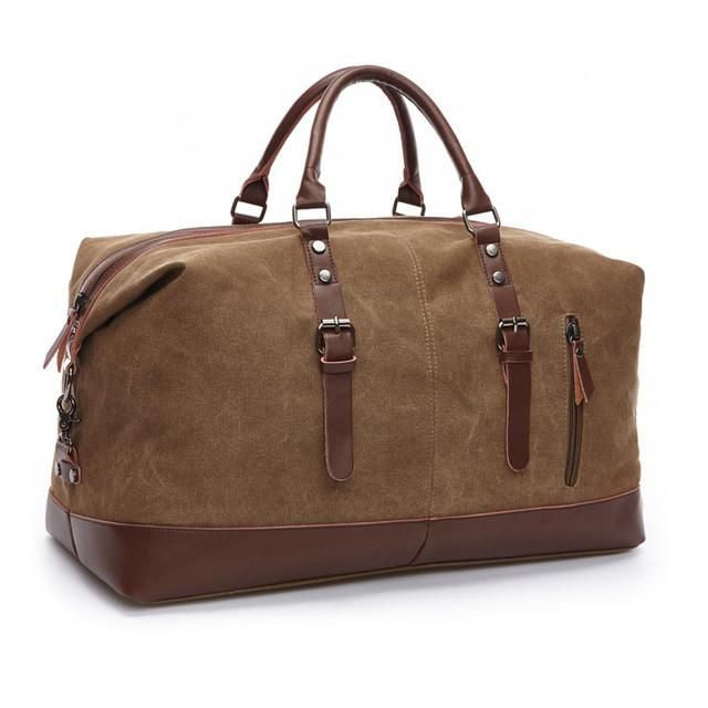 Canvas Leather Men Travel Bags Carry on Luggage Bags Large Weekend Bag