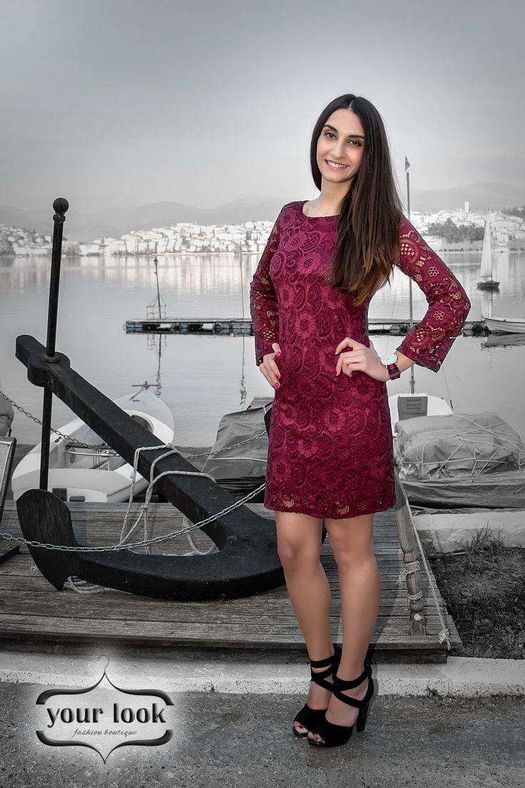 burgundy lace dress yourlook.gr