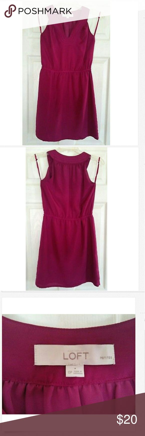 NWOT Anne Taylor LOFT Plum Sleeveless Dress in 0P Beautiful Anne Taylor LOFT sleeveless dress in plum perfect for the summer! This is brand new, never worn without the tags. Originally purchased for $49 in the Loft store. Size is 0 Petite and material is 100% polyester. Please review pictures for condition. LOFT Dresses Mini