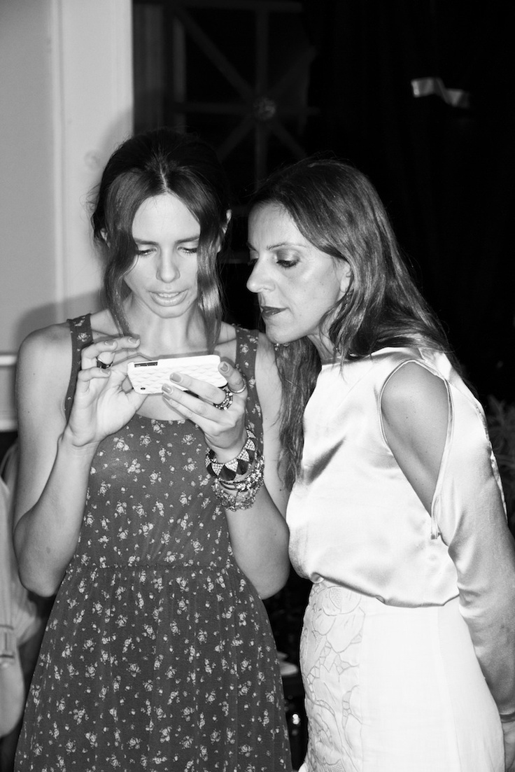 The fashion designer Natalie C with the model Evelyn Kazantzoglou at the Backstage