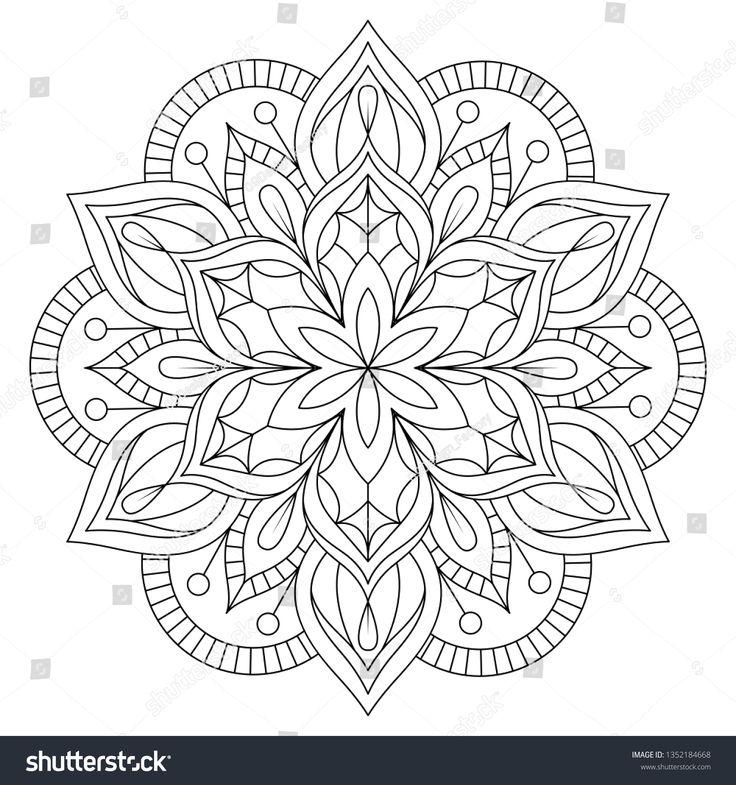 Stokovaya Vektornaya Grafika Decorative Mandala Coloring Page Antistress Coloring Bez Licenzionnyh Pla Mandalas Originales Tatuaje De Manga De Flores Mandalas