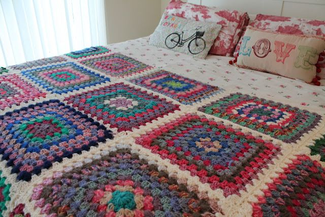 Manta al crochet de grannys squares