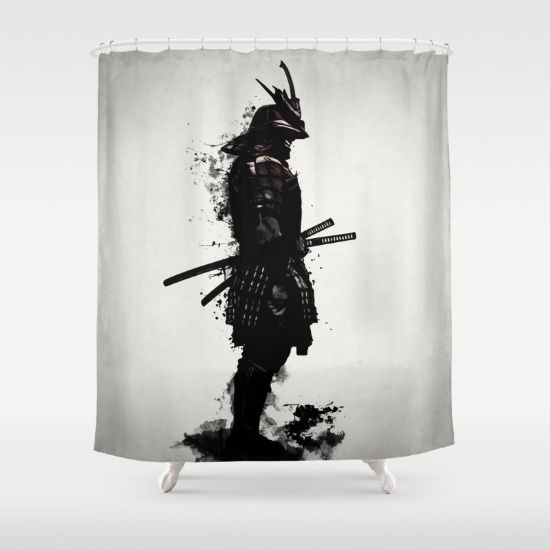 #samurai #warrior #sword #katana #japan #japanese #spatter #dark #inkspatter #digital #illustration #shower #curtains #homedecor