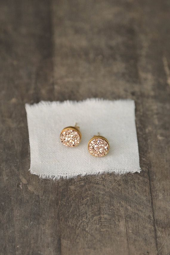Rose Gold Druzy Studs 10mm Druzy Earrings Pink by AmuletteJewelry