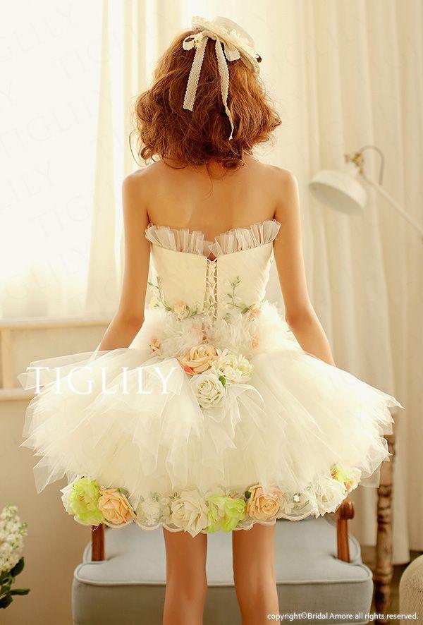 b682fa3acd53a 二次会 ドレス  ニューフリルローズ オフホワイト  結婚式  送料0 ...