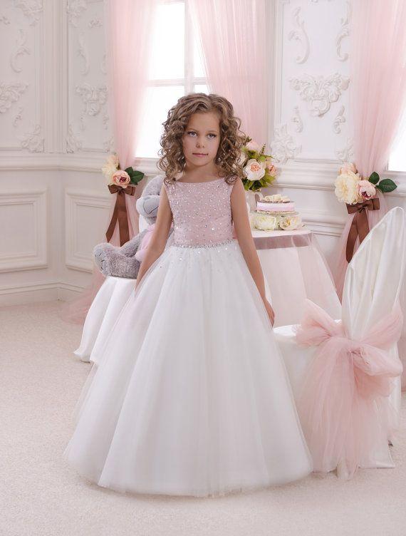 Vestido de la muchacha de flor de rosa y marfil - cumpleaños de Dama de honor de vacaciones fiesta marfil y rosa niña de las flores de tul vestido de novia