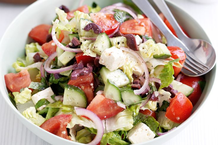 Take the best produce of summer produce and chop up a light and tasty Greek salad.