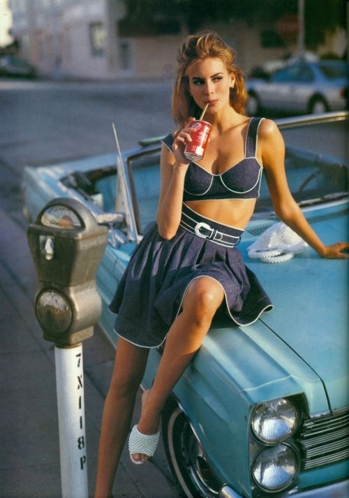 """Demin Now""  Magazine: Vogue UK, February 1992   Photographer: Sante D'Orazio   Stylist: Jayne Pickering  Model: Niki Taylor"