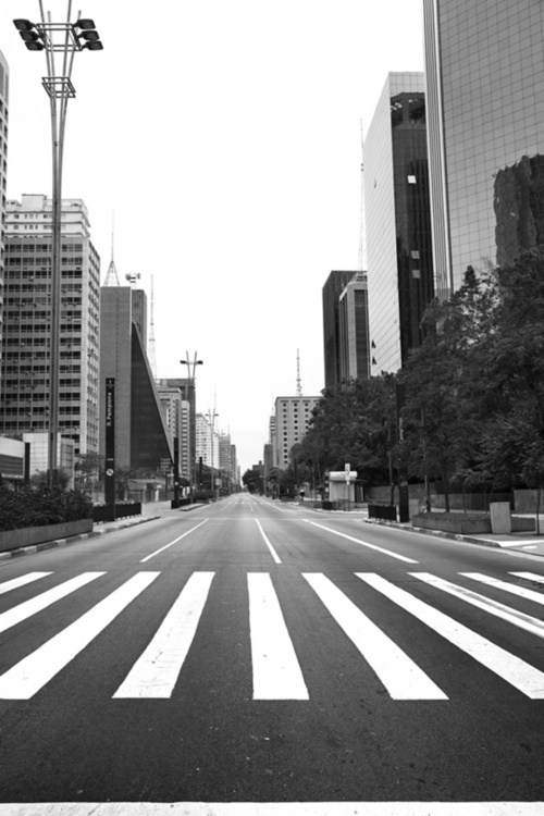 A dead empty Avenida Paulista, this must have been during a Brazil game at the World Cup