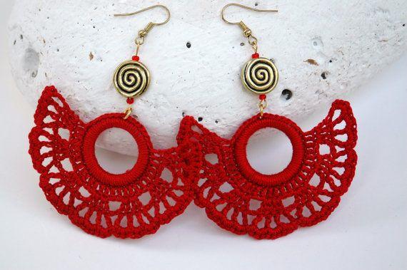 Pendientes de crochet-ganchillo  Pendientes largos  Joyería de ganchillo Color rojo - Abanico