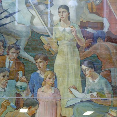 WPA murals: Carl W. Peters murals are protected by glass at Wilson. The Memorial Art Gallery plans an exhibit of WPA works.