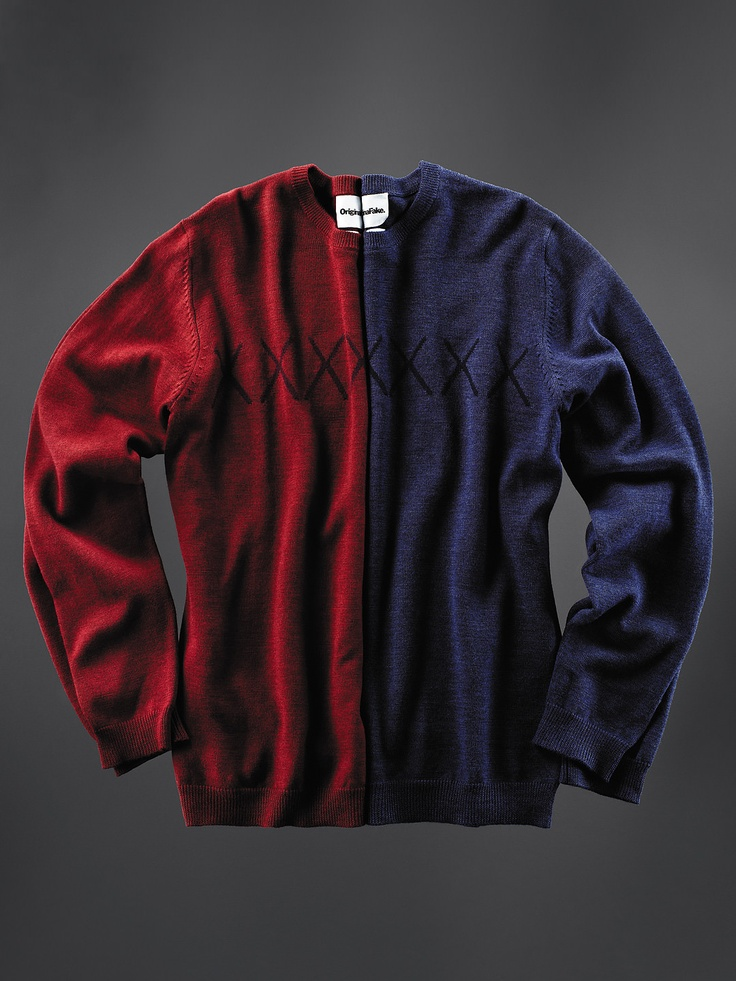 OriginalFake - Seems like an ideal sweater to wear to the Harvard-Yale game if you have divided allegiances.
