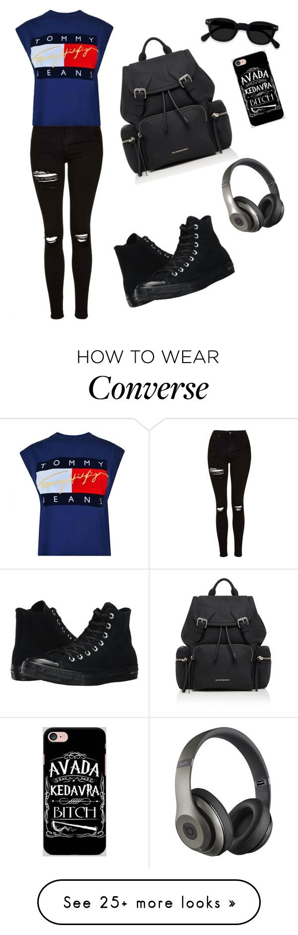 """""""Traveling"""" by esii-li on Polyvore featuring Topshop, Tommy Hilfiger, Converse, Burberry, Beats by Dr. Dre and Samsung"""