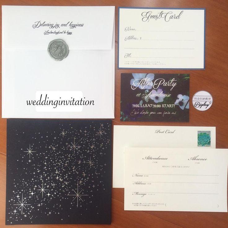 「#招待状デザイン . 昨日29日大安に無事発送 みんな年賀状出してるなか一人紙袋に大荷物かかえて(笑) . 内容はシンプルに。 ノバレーゼ会場オリジナルの星のカードに#ゲストカード と#二次会案内 だけ手作りして追加。 封筒に#エンボススタンプ とシルバーの#シーリングスタンプ してます。…」