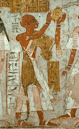 A Sem-Priest performing libations in the tomb of Nefer-Ronpet of the 13th dynasty courtesy of www.ancient-egypt-priests.com.