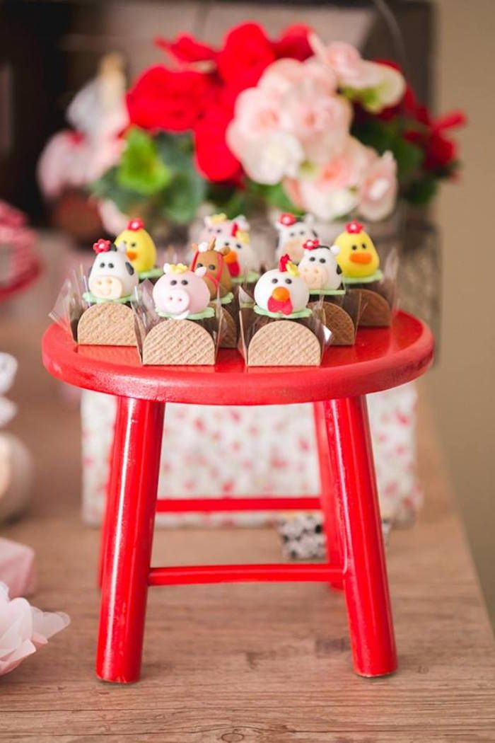 Truffles placed on a little red farm stool from a Girly Little Farm Birthday Party via Kara's Party Ideas | KarasPartyIdeas.com (15)
