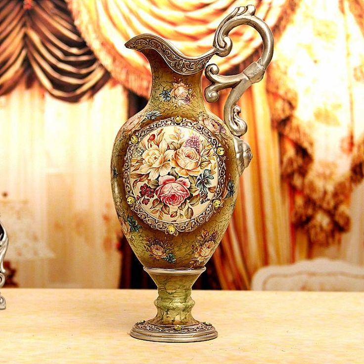 La moda de madera jarrón de cerámica francesa gran decoración decoración de época(China (Mainland))