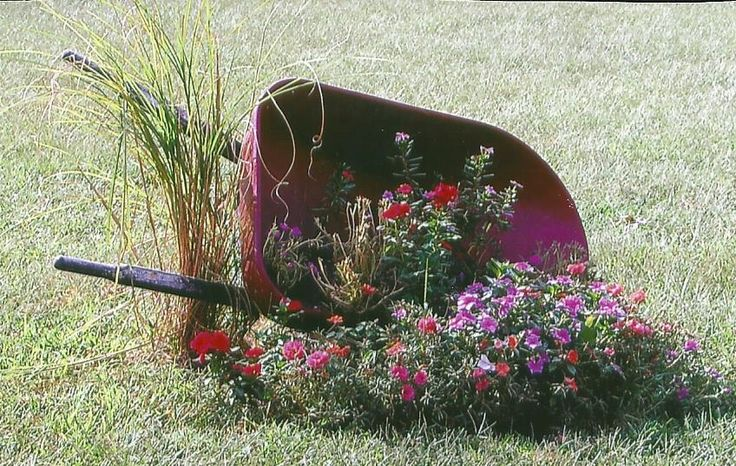 Wheelbarrow planter.  I think this is so cute.  Using an old wheelbarrow as a planter with some pampus grass planted in between the handles.