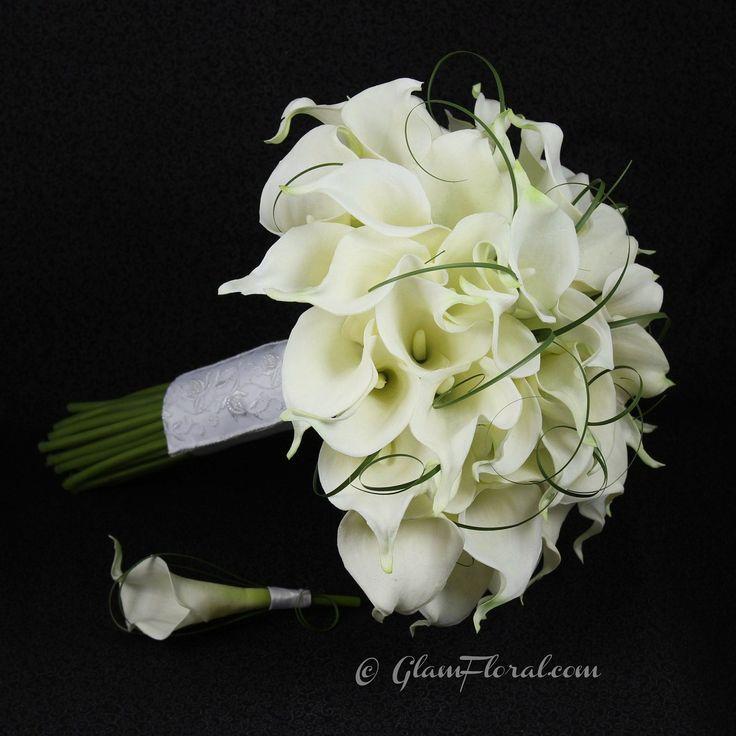 50 White Calla Lily Wedding Bouquet  Boutonniere Set - Real Touch Calla Lilies,  50 Calla Bridal Bouquet, Bride, Destination Wedding. $150.00, via Etsy.