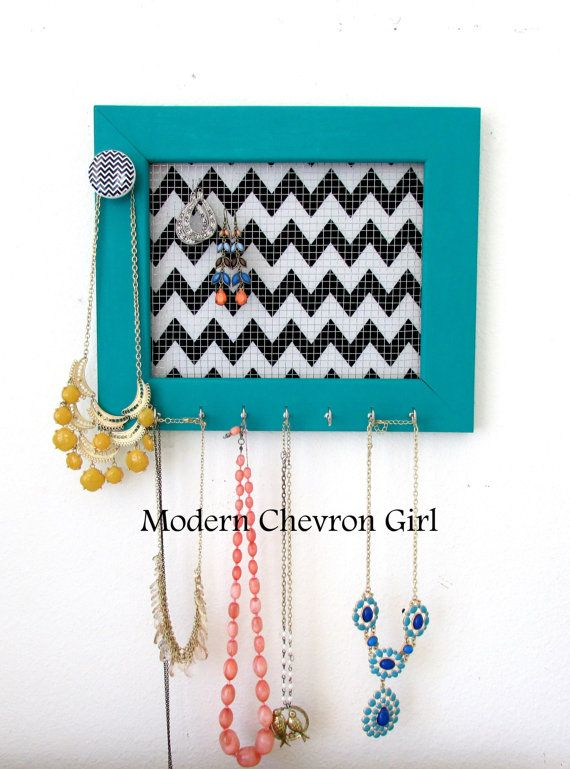 Chevron Jewelry Holder Organizer Frame Teal Black and White by TheHopeStack, $37.95