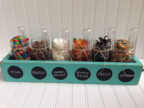 Ice Cream Sundae Topping Party Bar Mason Jar Wood Planter Box
