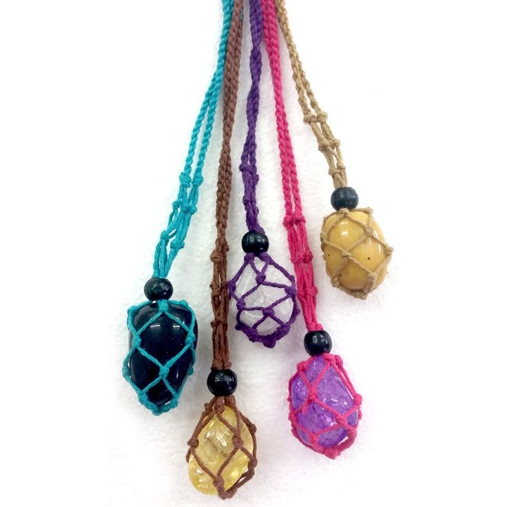 Beaded Cotton Macrame Gem Holders x 5 Crystal Gemstone Necklace Pouch Holder