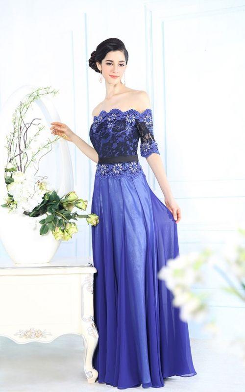 鮮やかブルーの袖つき高級ロングドレス - ロングドレス・パーティードレスはGN|演奏会や結婚式に大活躍!