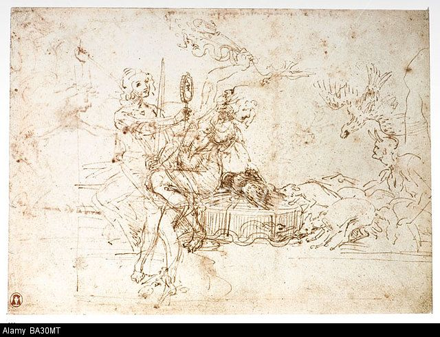 """Leonardo da Vinci - """"Allegory of Statecraft"""" ( Justice and Prudence ) wich alludes to the political state of Milan"""
