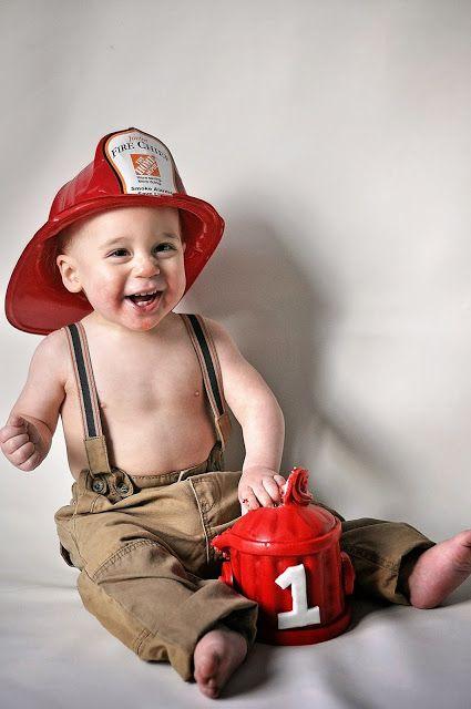 Leonidas {Cake Smash} ~ hilary knegt photography  fireman, firefighter