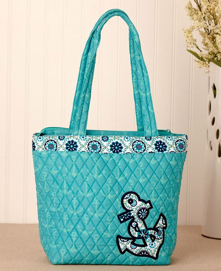 0720b5ab16bf Nautical Summer Tote Bag Anchor Accents Quilted Fabric Zipper ...