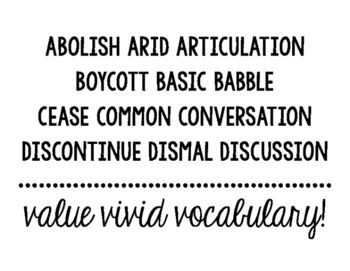 """Razzle Dazzle Words, Purple Words, Expensive Words, """"Said is Dead,"""" etc.We all put up a valiant fight to help our writers push the envelope! I like to use this as a word wall display for students to reference, but first I challenge students to match the exciting synonyms with their """"basic, boring"""" counterpart."""