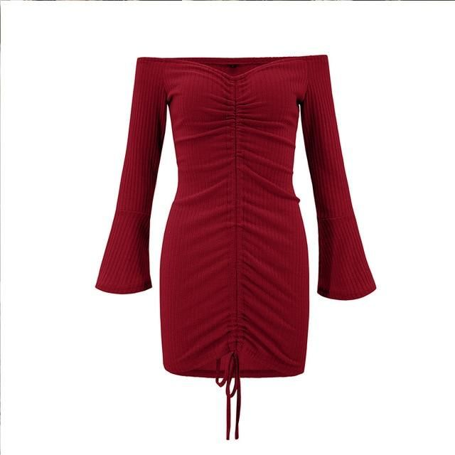 Mulheres outono inverno bandagem dress mulheres fora do ombro manga comprida magro elástico bodycon vestidos de festa vestidos de malha bodycon dn0903   – Products