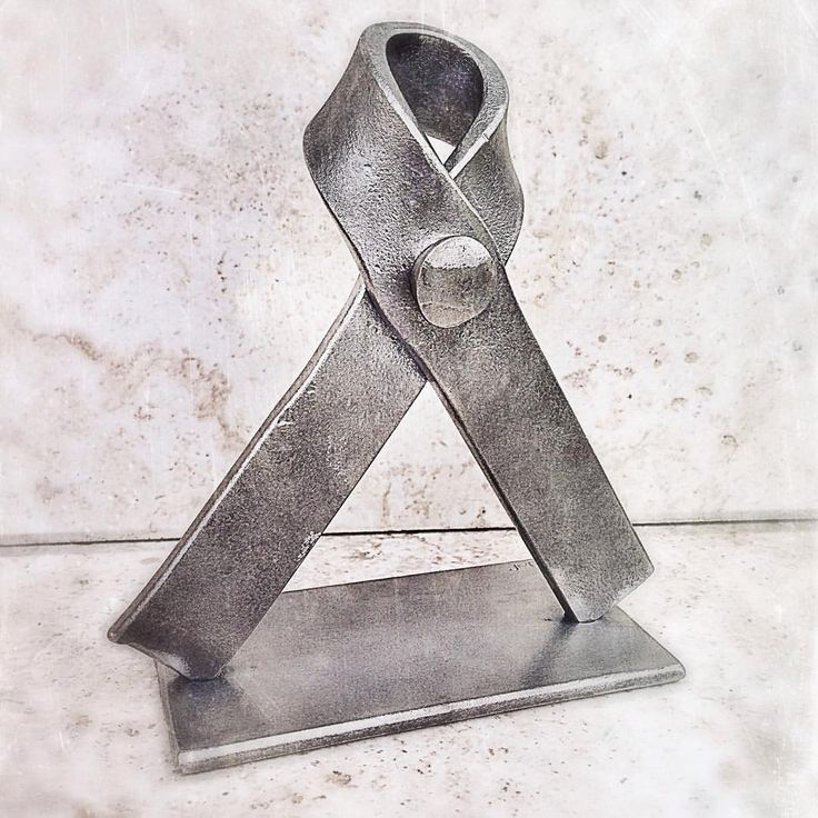 "olsonironworks: ""Hammer forged ribbon in recognition of Breast Cancer Awareness. """