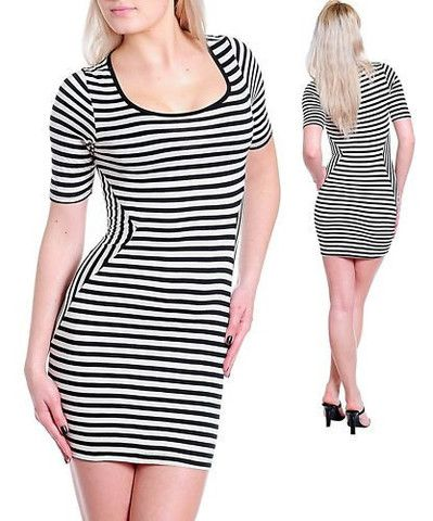 NAUTICAL BLACK WHITE STRIPES FITTED BODYCON PIN UP DRESS - viXXen Clothing