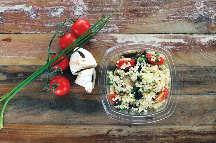 Avlaki dish from the FnF menu. Quinoa, mushrooms and cherry tomatoes with cranberries, almonds, cucumber, spearmint and a lemon vinaigrette on top. #FnF #fresn_natural_fit