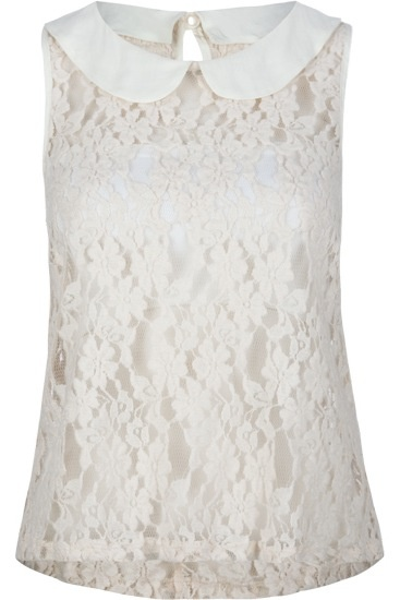 White lace blouse. Love the peter pan collar.