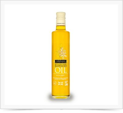 The rapeseed oil has the lowest saturated fat content of any commonly available cooking oil – it contains less than half the saturated fat that is found in olive oil; and is packed full of Omega 3. It has a wonderful subtle nutty taste and is ideal for salads and dressings.