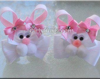 Pink Bunny Hair Bow Easter Hair Bow Bunny Hair Clip Rabbit Hair Bow