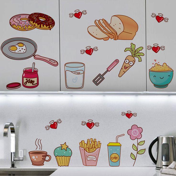 Креативная кухня шаблон самоклеющиеся винил съемная этикета для кухонного шкафа декор украшение пвх настенная купить на AliExpress