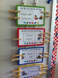Love the clothes pins to change reading centers